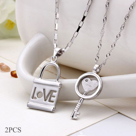 partners necklace key lock necklace couple jewelry love necklace lock and key jewelry Gift Silver Lock Necklace